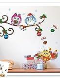 Zooyoo bunt niedliche Eulen und kleine Spielzeug auf Baum 3D Wand Aufkleber Home Decor Wand Aufkleber für Kinder/Wohnzimmer Mehrfarbig