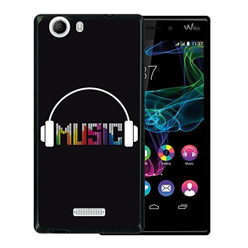 WoowCase Wiko Ridge 4G Hülle, Handyhülle Silikon für [ Wiko Ridge 4G ] Kopfhörer Handytasche Handy Cover Case Schutzhülle Flexible TPU - Schwarz