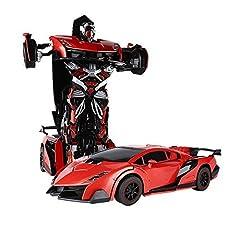 Idea Regalo - SainSmart Jr. RC Cars Trasformation Robotor Car Toy RC Veicoli 2.4 GHz Robot Toy Auto, Telecomando ad Alta velocità con trasformazione a Un Pulsante e 360 Speed Drifting(Rosso)