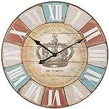 FineBuy Deko Vintage Wanduhr XXL Ø 60 cm Hotel Blance Braun römische Ziffern | Große Uhr rustikal Dekouhr rund | Design Retro Küchenuhr für Küche & Wohnzimmer