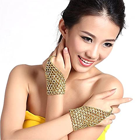 Belly Dance Performances Accessories Triangle Stretch The Middle Finger Ring Hand Chain (1 Pair of Gold)