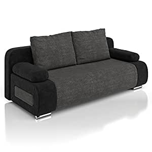 vicco schlafsofa couch sofa ulm federkern 200x91cm mikrofaser struktur schwarz k che. Black Bedroom Furniture Sets. Home Design Ideas