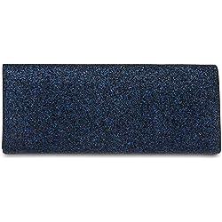 CASPAR TA343 elegante Damen Glitzer Clutch Abendtasche, Farbe:dunkelblau;Größe:One Size