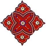 Wooden Rangoli Decoration,Home Decor 45 Cm X 1 Cm X 45 Cm, Red, Pack Of 5)