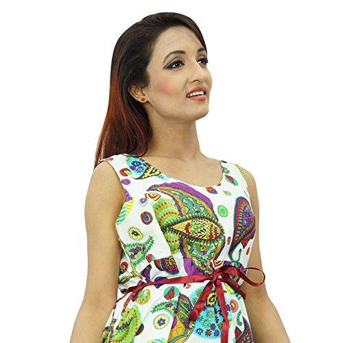 Paisley Frauen-Strand-Kleid gedruckte kurze Länge beiläufiges Sommer-Baumwollsommerkleid Nicht-gerade weiss
