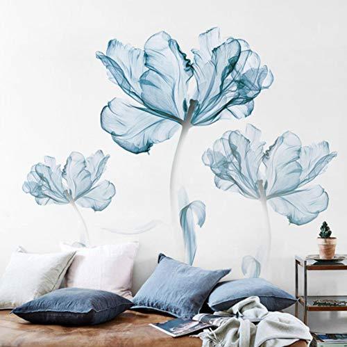 Adesivo da parete autoadesivo grande muro di fiori blu di grandi dimensioni sul muro fai da te impermeabile home decor poster 60x90cm