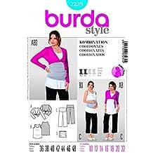 Burda - 7239-Cartamodello per Bolero da gravidanza Top & Pants taglie: da 10