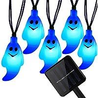KINGCOO Impermeabile 4,9 m/4,8 20leds solare a forma di fantasma Halloween decorazione fata luci per Natale Esterno vialetto Garden Party orizzontale - 2 Pulsante Di Alimentazione Finestra Interruttore