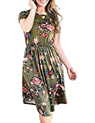 shermie Women Floral Print Midi Dress Summer Casual Short Sleeve Elegant Beach Dresses