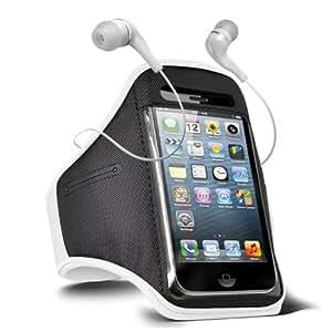 Fone-Case HTC One M7 verstellbaren Sport Fitness Jogging Arm Band Hülle & 3,5 mm In-Ear-Ohrhörer Basis Kopfhörer (weiß)