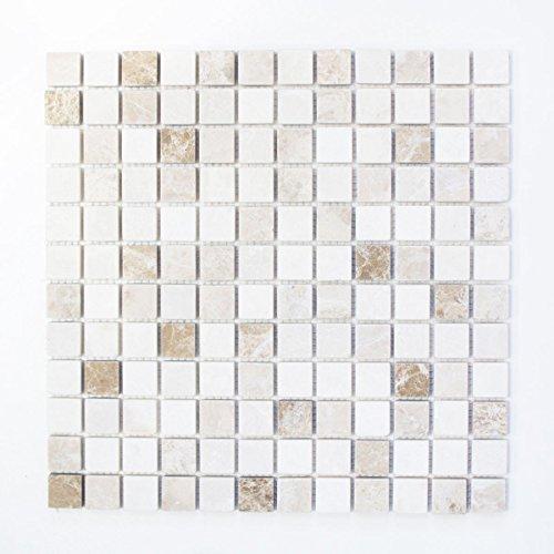 Cappuccino-boden (Mosaik Fliese Marmor Naturstein beige braun Botticino Cappuccino Emperador Light tumbled für BODEN WAND BAD WC DUSCHE KÜCHE FLIESENSPIEGEL THEKENVERKLEIDUNG Mosaikmatte Mosaikplatte)