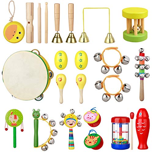 PovKeever 24 Pcs Wooden Musical Instrument Set, Baby Children Musical Toys Percussion Toy Fun Toddlers Toys Wooden Tambourine Maracas Castanets Hand Bell Toy Rhythm Band Set with Backbag