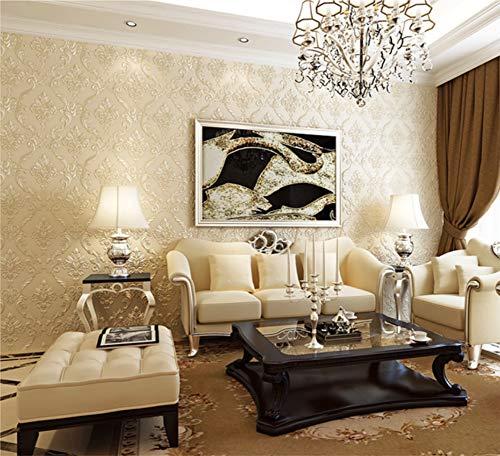 Tapete Warm 3D Damaskus Vliestapete Wohnzimmer Schlafzimmer Tv Hintergrundwand, 0.53MX 10M, Cremefarbe (Und Creme Tapete Schwarz)