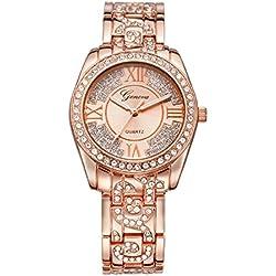 Geneva Platinum Big Size Studded Rose Gold Women's Timepiece - GP-274
