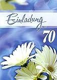 Einladungskarten 70. Geburtstag Mann Frau mit Innentext Motiv weiße Blumen 10 Klappkarten DIN A6 im Hochformat mit weißen Umschlägen im Set Geburtstagskarten Einladung 70 Geburtstag Frau Mann K138