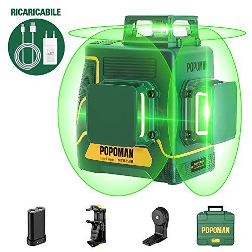POPOMAN Livella laser Verde 45m, 3x360° Professionale Linea Laser Croce, USB Ricarica, Autolivellante e Funzione Impulso, borsa per il trasporto (incl. 5200 mAh batteria al litio e Base magnetica)