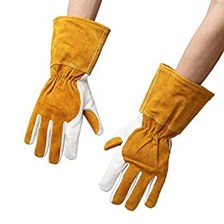 CHENGYI Genuine Goatskin Leather Rose Pruning Gardening Gloves Puncture Resistant Thornproof Yard Work Gloves Pruning Gloves for Men or Women CYST10 (L)