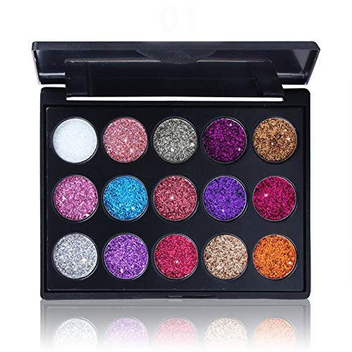 1 juego 15 colores de sombra de ojos Paleta de maquillaje Beauty con purpurina brillos metálicos para sombra de ojos cosmética mineral (01)