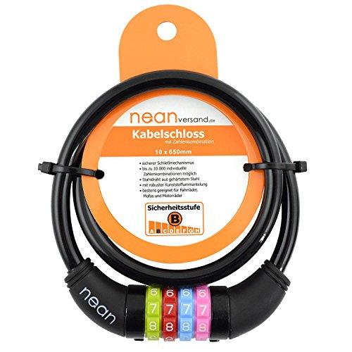 nean Kinder-Fahrrad-Kabel-Schloss, Zahlen-Code-Kombination-Schloss, schwarz, 10 x 650 mm