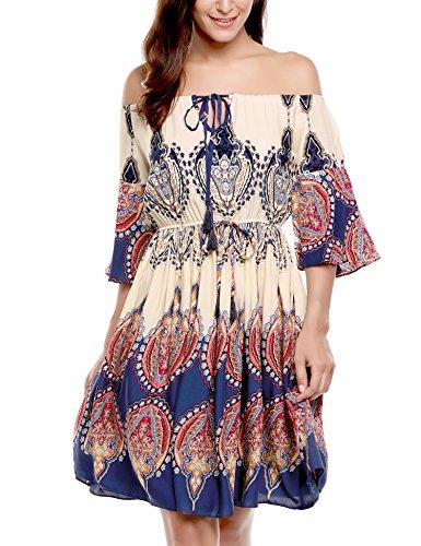 Vessos Damen Kleid schulterfreies geschnürtes florales Kleid in Böhmen Mode Blau