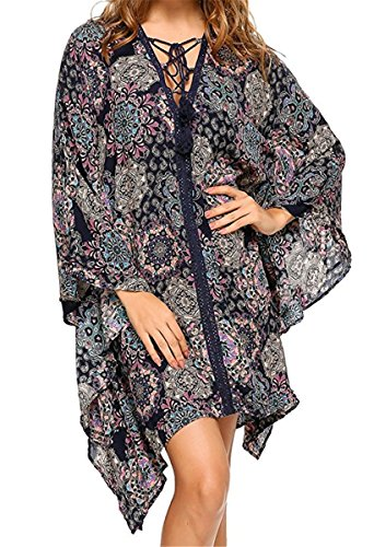IWFREE Damen Strandponcho Kaftan Poncho Strand Oberteile Tunika Beach Sexy Sommer Bikini Push up Strandkleid V -Ausschnitt Bikini Cover Up Kimono Blau