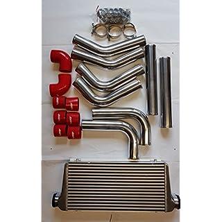 Ladeluftkühler Verrohrung 76mm 63mm Universal Kit Umbau Turbo (Ladeluftkühler 600x300x76mm inkl. Verrohrung 76mm)