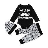 AUSVERKAUF. mingfa Newborn Toddler Jungen Lange Ärmel Buchstabe Little Brother Strampler Tops + Bart Bedruckte Lange Hose + Mütze Kleidung Outfits, 3M, Schwarz, 1