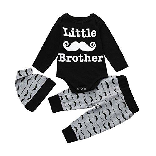 ewborn Toddler Jungen Lange Ärmel Buchstabe Little Brother Strampler Tops + Bart Bedruckte Lange Hose + Mütze Kleidung Outfits, 3M, Schwarz, 1 ()