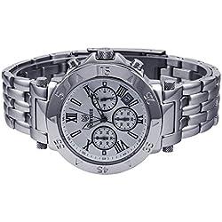 LUFA Chronograph Sport Herren Quarz Armbanduhren Edelstahl Unterwasser 100m weißes Zifferblatt & Schwarz Zahl