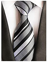 95f13446d3e4 New Classic White Blue Striped Tie Woven Jacquard Silk Men's Suits Ties  Necktie