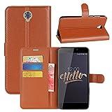 Cubot Max Hülle, HualuBro [All Around Schutz] Premium PU Leder Leather Wallet HandyHülle Tasche Schutzhülle Case Flip Cover mit Karten Slot für Cubot Max 6.0 Inch Smartphone (Braun)