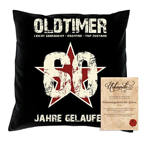 Lustiges Sprüche Kissen : Oldtimer 60 Jahre gelaufen : inklusive Urkunde Geschenk zum 60. Geburtstag Farbe: schwarz (Farbe Geburtstag 60)