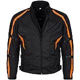 Limitless Herren Motorradjacke mit Protektoren und Reflektoren - Textil Motorrad Jacke aus Cordura - wasserdicht Winddicht Schwarz Orange 784 Gr. 3XL