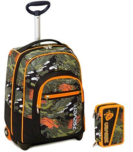 Seven trolley bambino astuccio - nero arancione camouflage - spallacci a scomparsa! zaino 35 lt scuola e viaggio - idea regalo natale