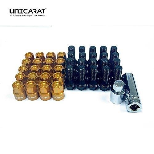 BLOXSPORT the Original forged wheel bolts Lug Nuts geschmiedete Radschrauben Bolzen Muttern Gold 12.9 Ball Seated Kugel Bund R13 M14x1.5 28mm