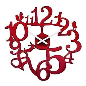 Koziol Pi:P Wall Clock, Transparent Red