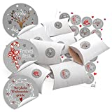 24 kleine Geschenkbox Geschenkschachtel weiß 14,5 x 10,5 cm ca. 3 cm + 24 Weihnachts-Aufkleber grau rot weiß Frohe Weihnachten Geschenk-Verpackung Mitgebsel
