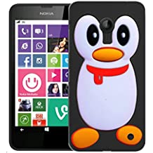 Mobile Case Mate Nokia Lumia 635 (BLACK PHONE ONLY) Silicone Coque couverture case cover Pare-chocs + STYLET - Black Penguin pattern (SILICON)