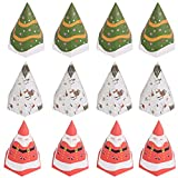 12 pezzi scatole di caramelle di Natale, albero di Natale di Babbo Natale Scatole regalo di favore di Natale 3 decorazioni natalizie in carta Cupcake Dolci di Natale Scatole per sacchetti