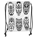 Icndpshorts Drawstring Backpacks Bags,Kabuki Mask Decoration,Japanese Nogaku Theatrical Masks Emotion Expression Culture Decorative,Black and White Soft Satin,5 Liter Capacity,Adjustable Strin