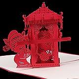 ECMQS 3D Pop Up Gruß Papierkarte Chinesische Braut Sedan Chair Hochzeitseinladung Geschenk