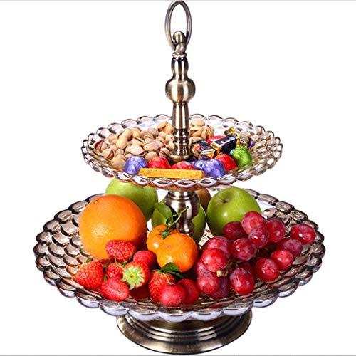 Frucht-Tablett 2 Tier-Verzierung-hoher Fuß-Entwurfs-moderner Art-einfache Kreativität Hauptlieferungs-Glas-Produkt-Dekorationen Frucht-Teller-Hotel-Restaurant Unterhaltungsklub (Farbe : Bronze)