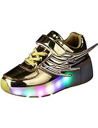 Honeystore Unisex LED Schuhe Leuchtschuhe 2018 Verbesserung 7 Farbe Blinkende Leuchtende Light up High Top Sneakers Schwarz 25 CN
