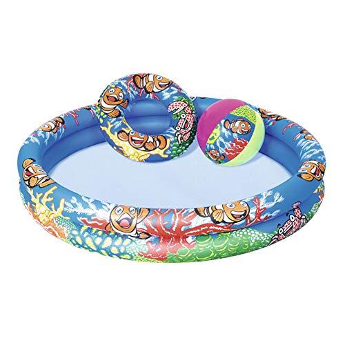 Yves25Tate Planschbecken Sommer Aufblasbarer Pool Familienpool Mit Schwimmring Wasserball Für 3-6 Jahre, Schwimmbecken Aufblasbar Rund 1,22 M × 20 cm