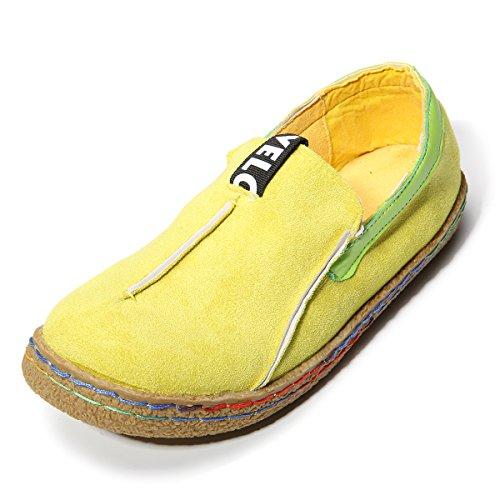 Damen Espadrilles, Tezoo Hausschuhe Slipper Mokassins Bootsschuhe Flache Schuhe Gelb 40 (Leder Flache Schuhe)