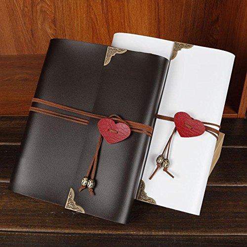 Skye Reker Cuoio 30 fogli di carta nera cuore di amore di nozze fai da te a tema dell'album Handmade Vintage Photo Album foto Scrapbooking 8 10 12 pollici (bianco-201 x 247