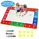 Water Doodle Mat, Larger(39.4 X 27.5 inch) Multicolored No Mess Water Drawing Painting Pad with 3 Magic Pens & 8 Stamps - Best Educational Toy & Xmas Gifts for Boys& Girls Age 2 3 4 5 6+ Years Old