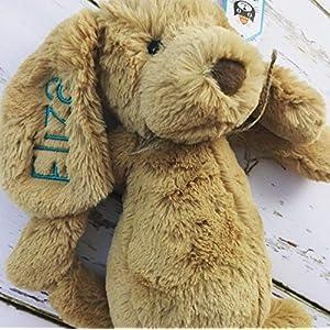 Hund mit Namen für Kinder, Stofftier, plüschtierKuscheltier Teddybär, Geburt Taufe Geschenk, bestickt mit Geburt Datum Namenplüschtier JellyCat