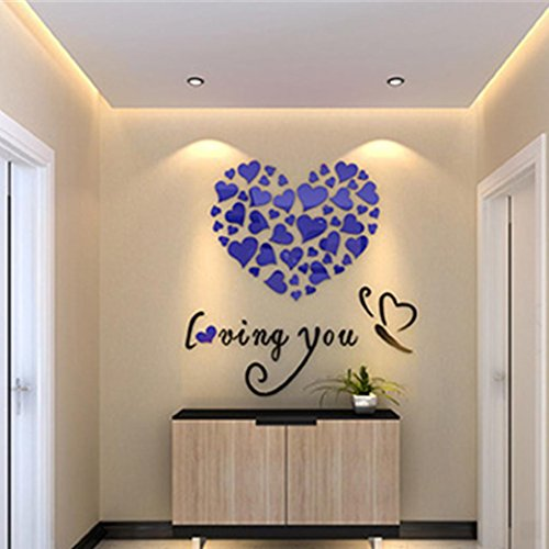 Indexp Removable 3D DIY Love Heart Wall Sticker Room Decoration Vinyl Decals(0.4x0.4M) (Blue)