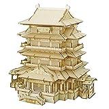 ZUJI Puzzle 3D en Bois Jue de Construction DIY Modèle de Architecture Ancienne Jigsaw Puzzle pour Enfants et Adultes (Pavillon du Prince Teng)